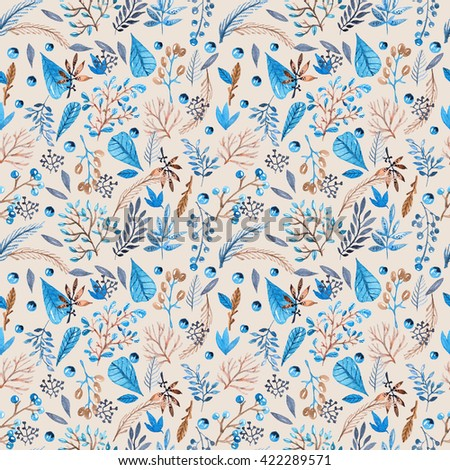 Seamless watercolor pattern with leafs and berries in blue and brown colors for beautiful design