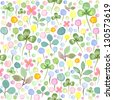Seamless watercolor pattern with spring flowers and leafs - stock vector