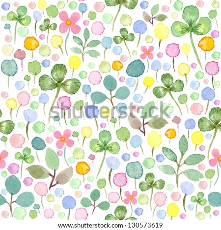 Seamless watercolor pattern with spring flowers and leafs - stock photo