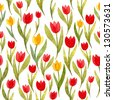 Seamless watercolor pattern with spring tulips - stock vector
