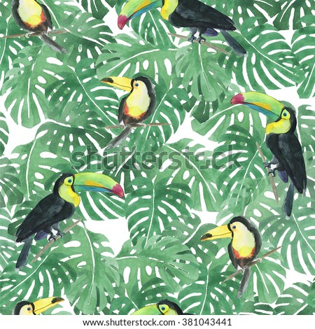 Seamless watercolor pattern with toucan and leaves - stock photo