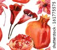 seamless watercolor pomegranate and calla pattern - stock photo