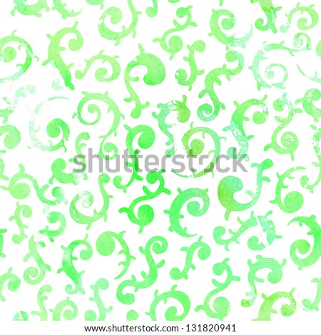 seamless watercolor seamless shapes, green painted