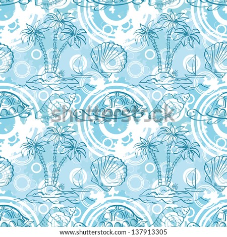 Seamless white and blue pattern. Sea island with palm trees, boat, turtles, shells, contours.