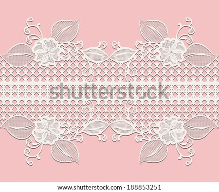 Seamless white lace ribbon with floral elements for design greeting cards or wedding invitations isolated on pink. - stock photo