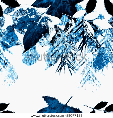 Seamless Winter Leaves Art Abstract Design - stock photo
