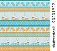 Seamless winter pattern. Sport background with retro figure ice skates, mittens and snowflakes. Blue orange texture. For vector version see image id 90007027 - stock photo