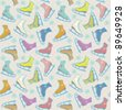 Seamless winter pattern with colorful figure ice skates and snowflakes. Sport bright background - stock photo