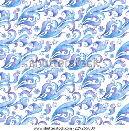 Seamless winter pattern with snow flakes and winter ornament. Watercolour decorative ornament with scrolls and curves - stock photo