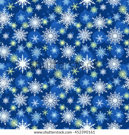 Seamless winter pattern with snowflakes, blue background, Christmas print. - stock photo