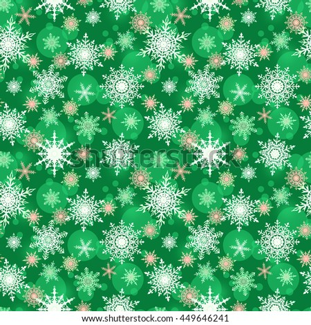 seamless winter pattern with snowflakes, green background, Christmas print - stock photo