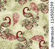 seamless winter pattern with stylized peacocks and snowflakes - stock photo