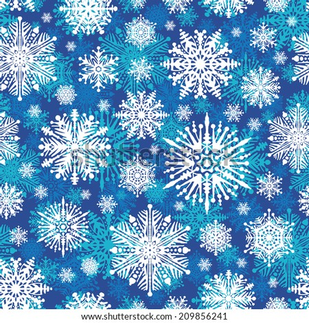 Seamless winter snowflakes background