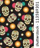 Seamless with sugar skulls. Raster version. - stock photo