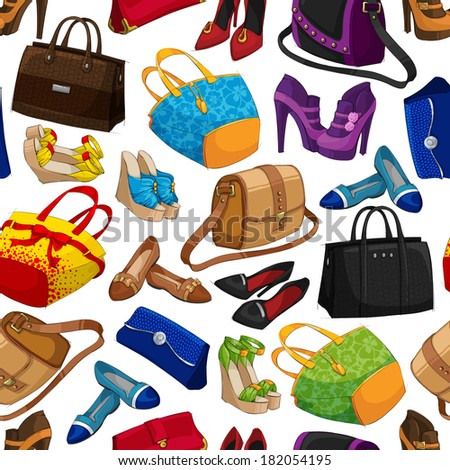 Seamless woman's fashion accessory bags and shoes wallpaper pattern background  illustration
