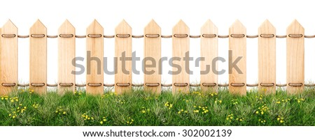 seamless wooden fence and grass. isolated on a white background. - stock photo
