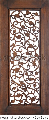 Seamless wooden openwork wall - stock photo