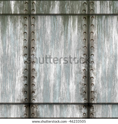 Seamless worn green metal texture with rivets that tiles as a pattern in any direction. - stock photo