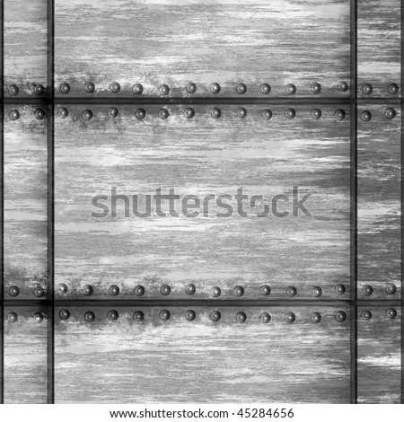 Seamless worn metal texture with rivets that tiles as a pattern in any direction. - stock photo