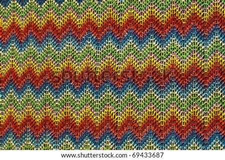 Seamless woven textile texture with red and blue spike pattern - stock photo