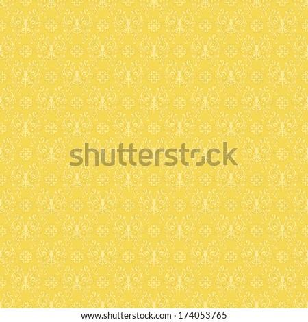 Seamless Yellow Butterfly Damask Pattern - stock photo