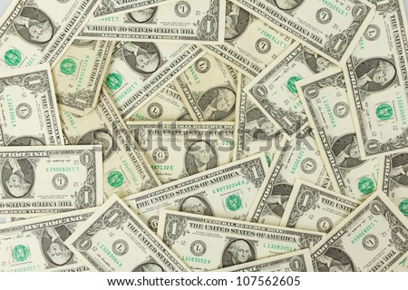 Seamlessly tileable and repeatable 1 dollar bills, US Currency - stock photo