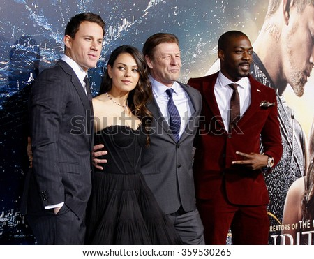 "Sean Bean, David Ajala, Channing Tatum and Mila Kunis at the Los Angeles premiere of ""Jupiter Ascending"" held at the TCL Chinese Theater in Los Angeles, USA on February 2, 2015."