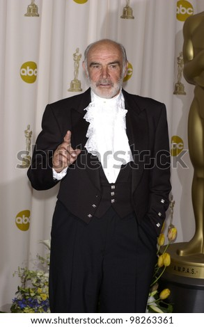 SEAN CONNERY at the 75th Annual Academy Awards at the Kodak Theatre, Hollywood. March 23, 2003 - stock photo