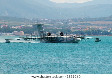 Seaplane A42 on water - stock photo