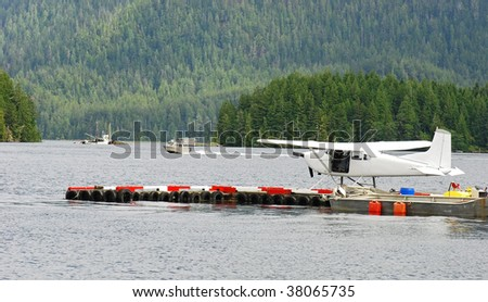 seaplane and forest - stock photo
