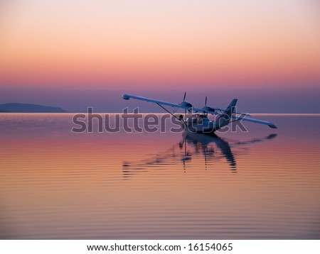 Seaplane at Sunset on water
