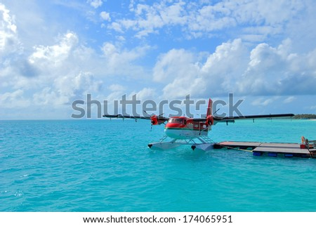 Seaplane at the dock - stock photo