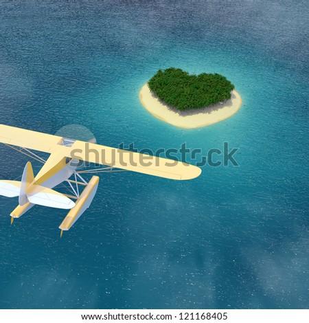 Seaplane flying at Dream Island / Heart-shaped island Caribbean - stock photo