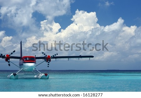 seaplane on a water - stock photo
