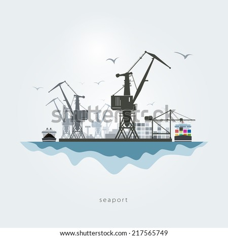 Seaport with cranes, the container carrier and the cargo ship - stock photo