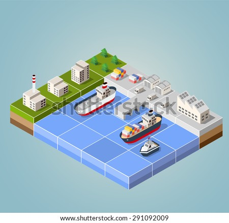 Seaport with the marina. Cargo ships in perspective. Set design for the ships. - stock photo