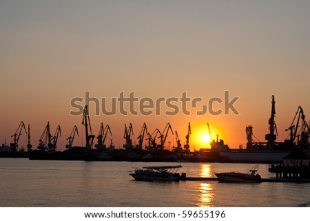 seaport with the tower cranes at sunset
