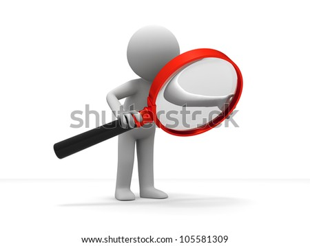 Search/A person is using the magnifying glass - stock photo