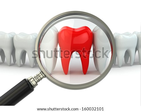 Search aching tooth in row of healthy teeth. 3d - stock photo