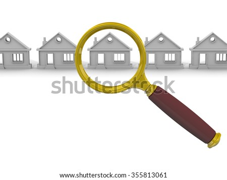 Search and purchase real estate. Magnifier and symbolic house on a white surface. The concept of real estate search. The three-dimensional illustration