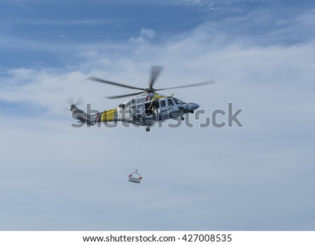 Search and rescue exercise - winching from a coastguard helicopter