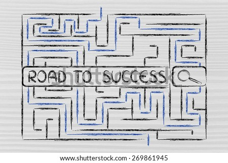 search bar surrounded by a maze, with tags about the road to success - stock photo