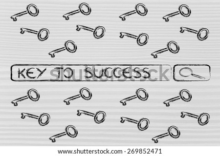 search bar with funny keys, researching about the best keywords to success - stock photo