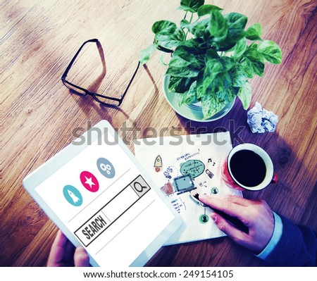Search Browsing Web Internet Information Online Concept - stock photo