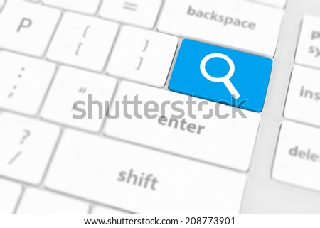 Search button on the keyboard close-up - stock photo