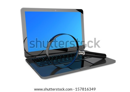 Search Concept. Laptop and magnifier on a white background
