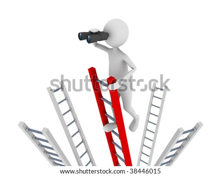 Search concept representing 3D man climbing to the top of a ladder and searching with the help of binoculars - stock photo