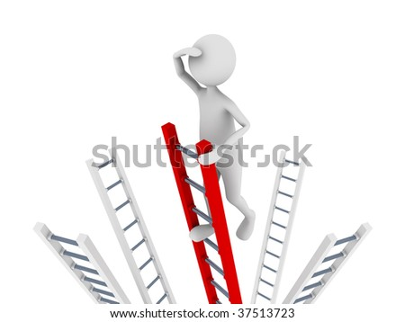 Search concept representing man climbing to top of the ladder and searching - stock photo