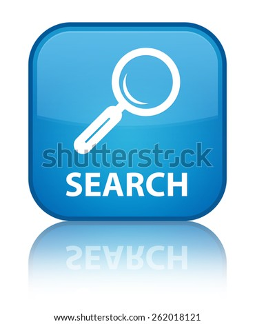 Search cyan blue square button - stock photo