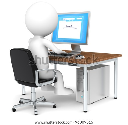 Search. 3D little human character Searching on Internet. Blue Screen. Business People series: Classic. - stock photo
